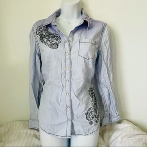 Style & Co • Ombre Button Down Shirt Enbroidery